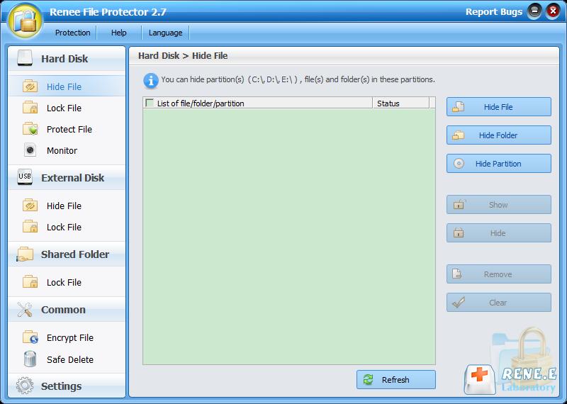 esconder arquivos com Renee File Protector