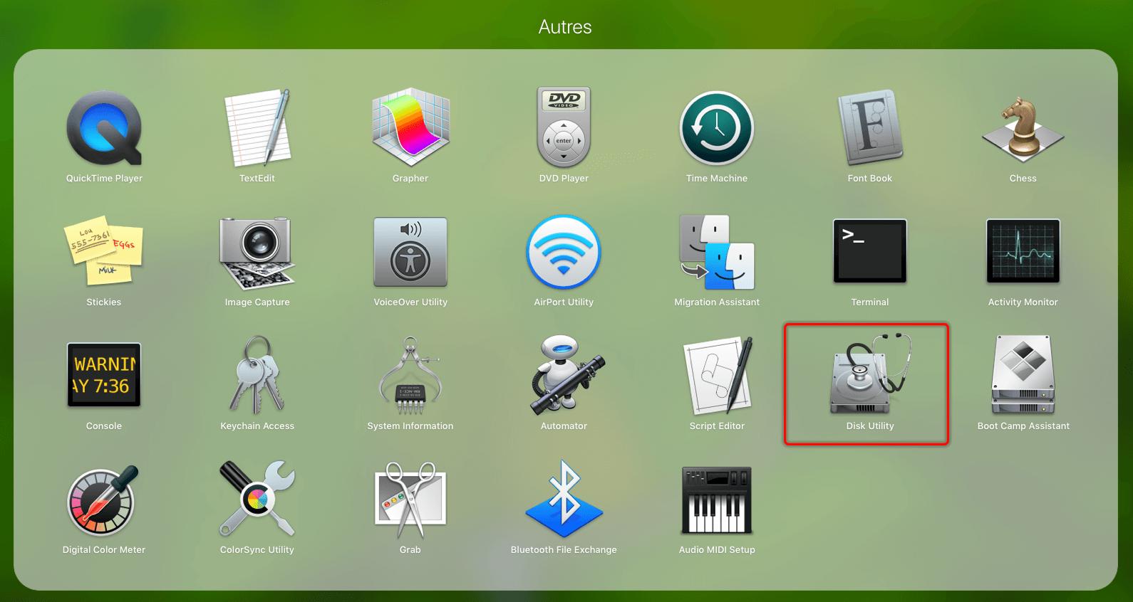 Utilitário de disco mac
