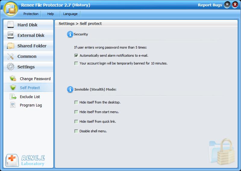 configurações para proteger arquivos