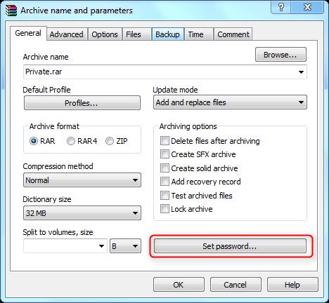 definir senha para arquivo compactado