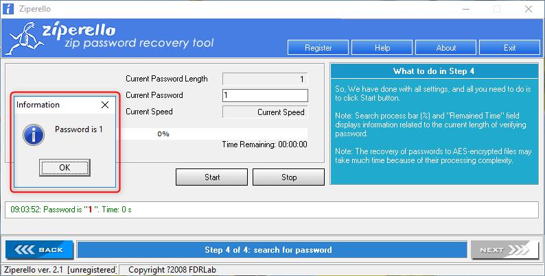 rack senha do arquivo ZIP com Ziperello